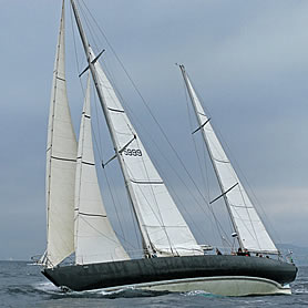 Pen Duick VI with reefed mainsail
