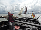 Vic on the tiller of Betty at the Whitstable Race